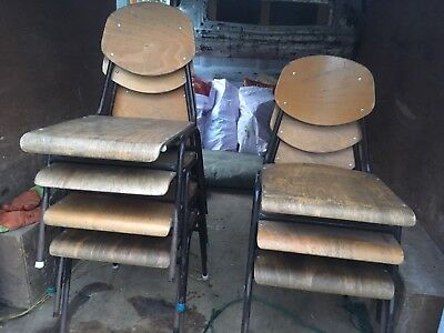 7 Vintage School style stacking  Chairs £20 EACH