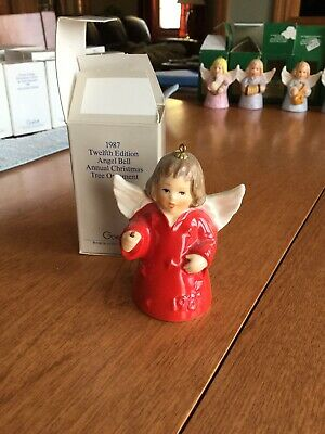 Vintage 1987 12th Edition Goebel Angel Bell  Annual Christmas Tree Ornament