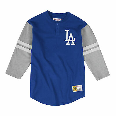 3ddad6ac13 Los Angeles Dodgers Mitchell & Ness MLB Men's Team Logo 3/4 Sleeve Henley  Shirt