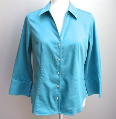Talbots Blue Stretch Cotton Sateen Fitted 3/4 Sleeved Women's Blouse Size 10P