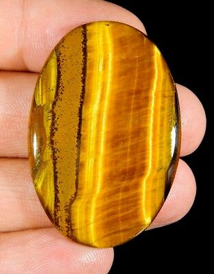 61 Ct Top Natural Fire Golden Multi Iron Tiger's Eye Oval Cabochon Gemstone E215