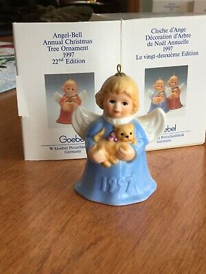 Vintage 1997 22nd Edition Goebel Angel Bell  Annual Christmas Tree Ornament