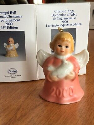 Vintage 2000 25th Edition Goebel Angel Bell  Annual Christmas Tree Ornament