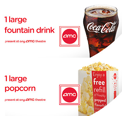 TWO (2) Large Drinks + TWO (2) Large Popcorn @ AMC Theatres - Exp. 6/30/2020