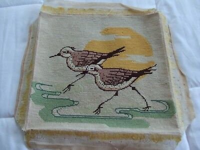 Vintage Needlepoint Of Sandpipers On Beach