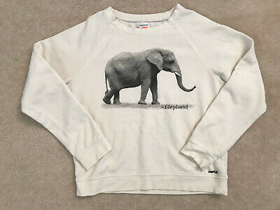 55dc91aaab0c07 Women s Junior Forever 21 Cream Elephant Aspca Graphic Sweatshirt Size  Medium