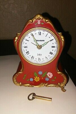 """Vintage """"staiger"""" Western Germany Musical Alarm Clock ! Red With Flowers."""