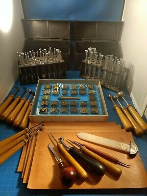 Vintage 75 Piece Set Craftool Leather Stamps, Knife and Tools with Stands