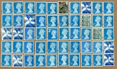 GB 50 2nd Class Blue Non Security Type, Unfranked Stamps, All Off Paper, No Gum.