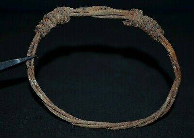 Ancient Viking Iron Bracelet. Wire Bangle in Stunning Norse Knot, c 950-1000 Ad.