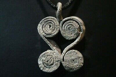 Ancient Viking Silver Amulet depicting Two Norse Eternity Loops, c 950-1000 Ad.