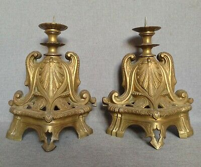Antique pair of andirons made of bronze France 19th century fireplace