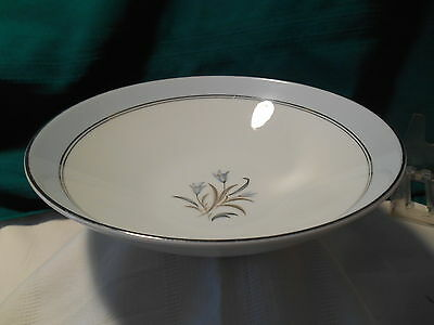 "Noritake ""Bluebell""  Soup Bowl Blue Band & Flowers, Gray Leaves, Silver Trim"