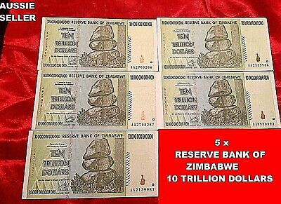 10 Trillion Dollar Zimbabwe (5) Unc Banknotes Real Note 2008/aa 100T Ser