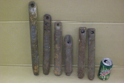 Antique Mixed Lot Of 6 Cast Iron Window Weights Industrial Salvage Steampunk