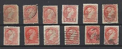 """Canada 1897  # 41 """" Small Queens  """"  Collection of 12 Used  (lt22)"""