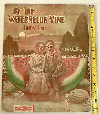 Vintage 1904 Black Americana Sheet Music Lindy Lou By the Watermelon Vine