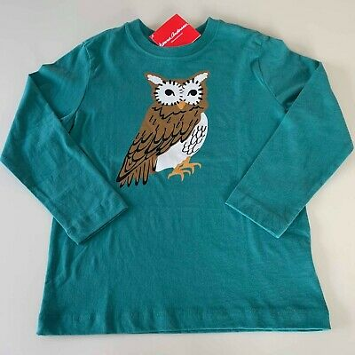 """Hanna Andersson AWESOME Boys """"OWL"""" Long Sleeve Shirt 4-5 years.110 cm. So Comfy"""