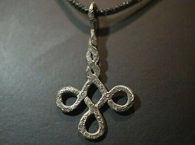 Ancient Viking Silver Cross Amulet. Stunning Norse Knot Pendant, c 950-1000 Ad
