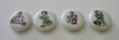 set of 4 TRULY RARE VINTAGE 1950s ceramic nursery rhyme magnets, made in Japan