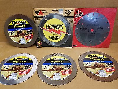 """Lot of 6 New old stock 7 1/4"""" Circular Saw Blades Vermont America/Oldham B725P"""