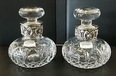 Two Vintage Atlantis Crystal Silver MOUNTED  Perfume Bottle Made In Portugal