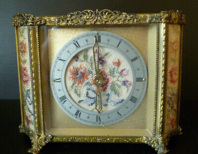 Vintage Desk / Table Top Clock With Embroidery For Spares Or A Repair