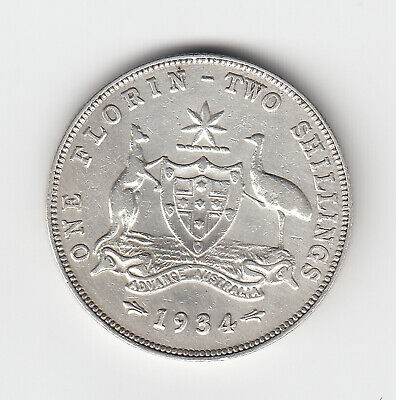 1934 Kgv Florin (92.5% Silver) 6 Pearls Nice Vintage Coin - Scratches To Obverse