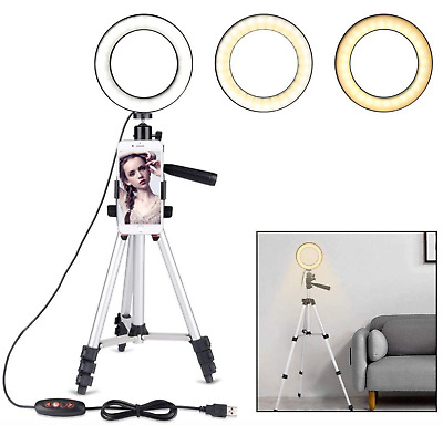 "5.7"" Ring Light Stand Tripod Mini LED Camera Light With Cell Phone Holder Lamp"