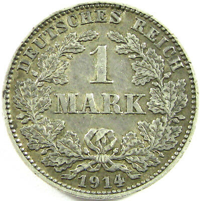1914-J  German Empire  Mark  Km# 14  Silver  An Extra Fine Coin