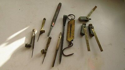 Old Tools Brass Compass Glass Cutter Angles Scribe Assorted Lot