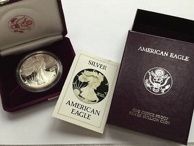 1986-S Proof US American Eagle One Ounce Silver Coin in Box w/ COA - Free Ship!