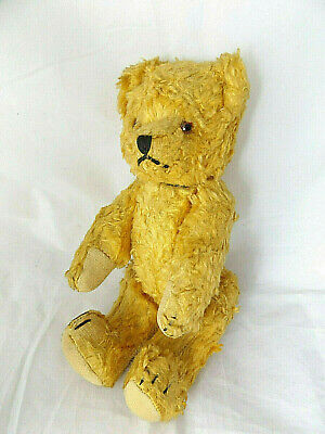 Beautiful Antique 1920's Small Jointed Golden Teddy Bear With Brown Glass Eyes.