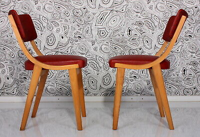 50er SET 2 STÜHLE ROT VINYL GEPOLSTERT 50s chairs chaises sedia chair silla a50
