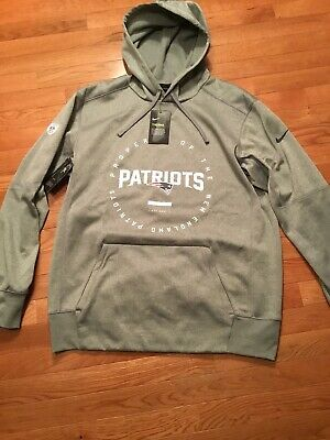 0992fb58d Nike New England Patriots Therma Mens Sideline Pullover Hoodie Sz XL Grey   70