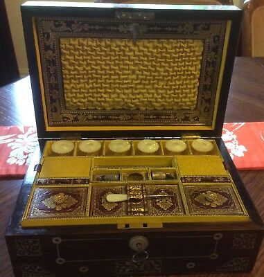 Antique Pearl Inlaid Fitted Rosewood Sewing Workbox