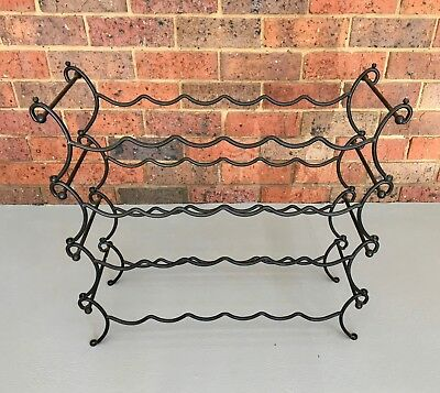 Vintage Wrought Iron Wine Rack (24 Bottles)