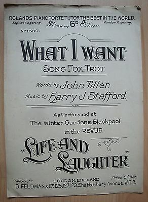 "What I Want - Harry J. Stafford - In London's Revue ""life And Saughter - 1925"