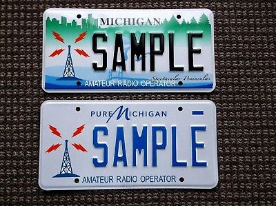 Michigan AMATEUR RADIO OPERATOR Sample License Plates HAM