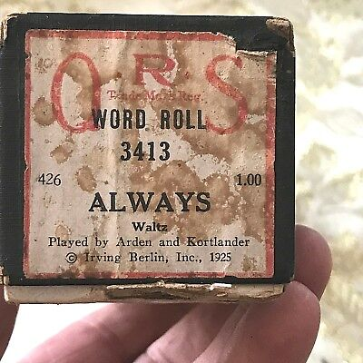 "QRS Player Piano Word Roll  ""Always"" No.3414   Good Condition!"