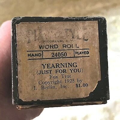 "Piano Style Word Piano Roll ""Yearning (Just for You)"" No. 24050  Good Condition!"