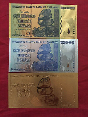 Zimbabwe 100 Trillion Dollar Banknote (3) 24K Gold, Silver & Coloured Gold Note