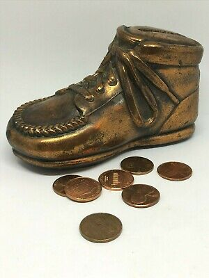 Vintage Shoe Bank Copper-colored Metal Bank. Great Collectible!