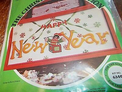 vintage NIP Paragon 6340 Happy New Year sampler crewel embroidery kit 1978