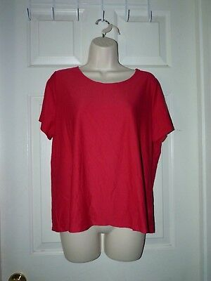 Woman  xlg East 5th Brand poly spandex RED TOP solid color short sleeve summer