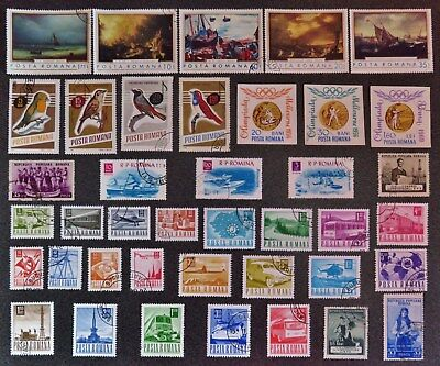 Romania Stamp Collection Of 40 Different Used Stamps All Unhinged