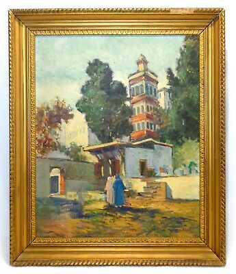 William H. Partridge (American 1858-1938) O/c Landscape Arab Courtyard W/figures