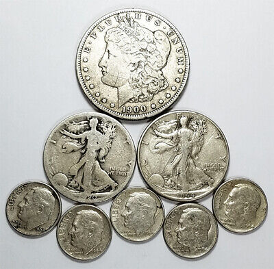 "Lot:(8)US 90% Silver Coins-$2.50 Face Value-""Junk Silver"",pre-1965 & Morgan  $1"