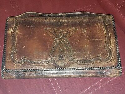 Antique Arts & Crafts Tooled Leather Purse w/ Suede Inner Art Nouveau 1926 JEMCO