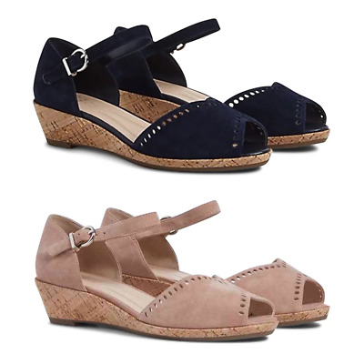 50482bd4160 MARKS & SPENCER M&S COLLECTION T029532W Wide Fit Suede Wedge Sandals RRP £45